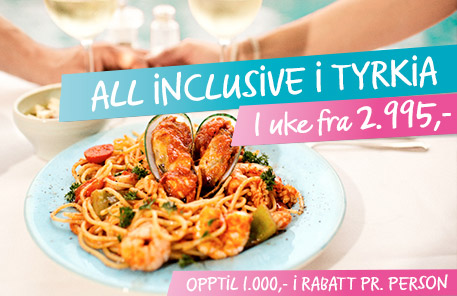 All Inclusive i Tyrkia fra 2.995,- »