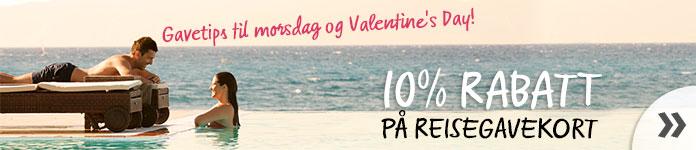 Gavetips til morsdag og Valentines day! Nå får du 10% rabatt på reisegavekort »