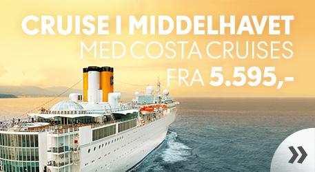 Cruise i Middelhavet med Costa Cruises fra 5.495,- »