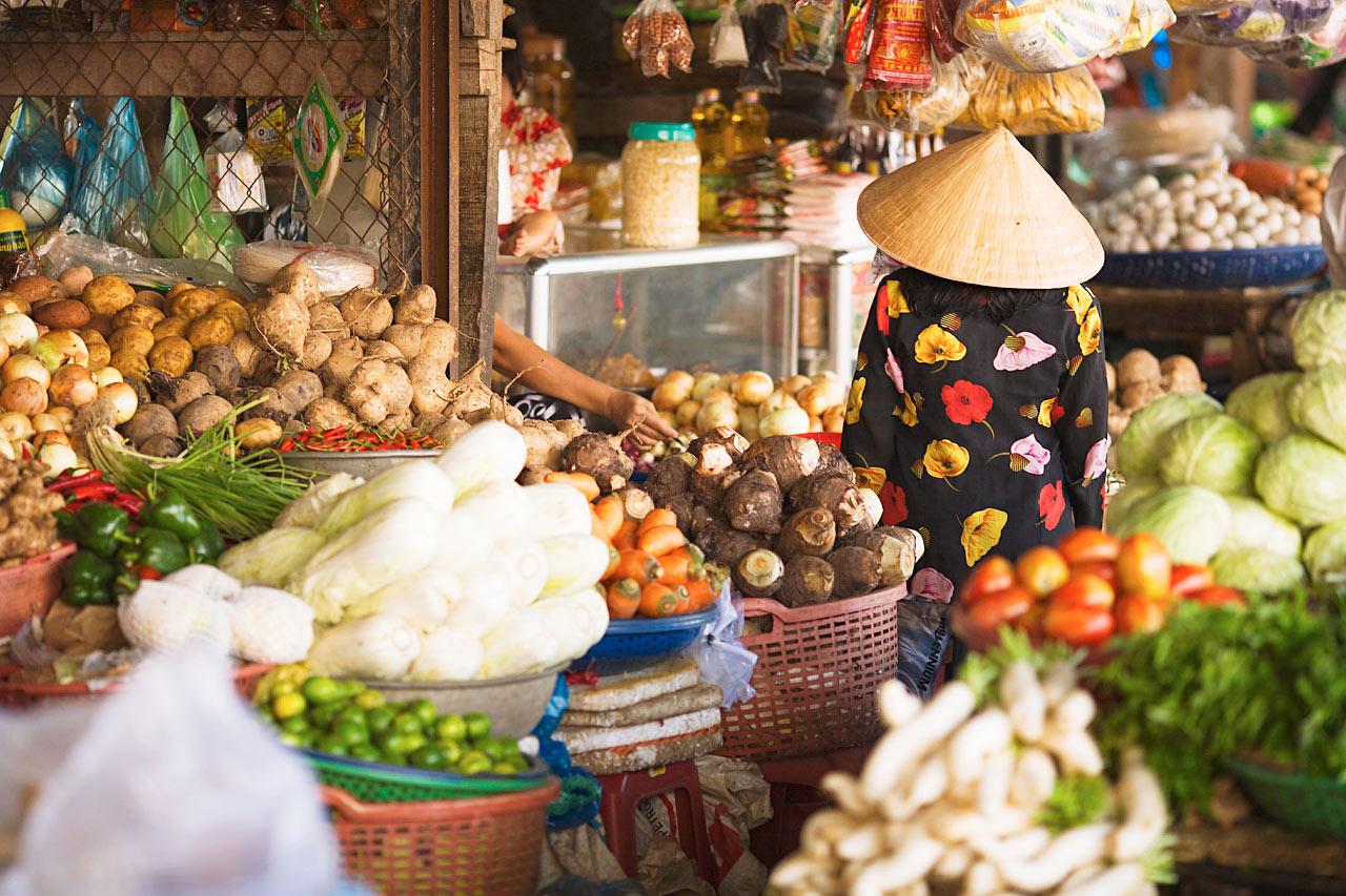 Vietnam - Grønnsaksmarked i Duong Dong, Phu Quoc, Vietnam.